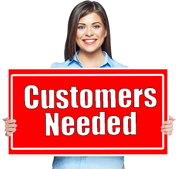 350 px customers needed woman holding blank sign shutterstock_397572460